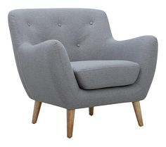 Fauteuil scandinave MILO tissu Gris clair - Fauteuil BUT Décoration Urban Jungle, Tub Chair, Decoration, Accent Chairs, Armchair, Furniture, Place, Home Decor, Note