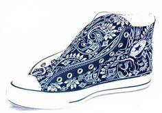 Bandana Fever Custom Bandana Converse All-Star Chuck Taylor Hi Navy/Navy Bandana Converse Sneakers, Converse All Star, Custom Shoes, Custom Converse, Custom Vans, Painted Shoes, Painted Converse, Sock Shoes, Chuck Taylors