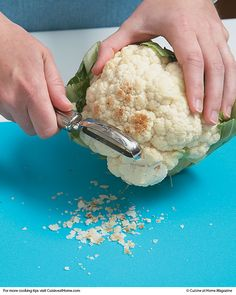 """Cleaning Up Cauliflower:  If left in the refrigerator for too long, cauliflower can start to develop brown spots on the outside — but that doesn't mean the whole head is a lost cause. If this happens, just use a vegetable peeler to """"peel"""" the spots off, and your cauliflower is good as new and ready to eat."""