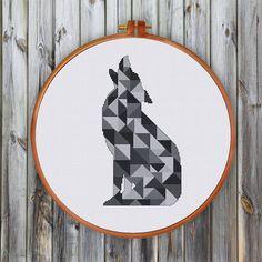 Motif+de+point+de+croix+moderne+géométrique+loup++par+ThuHaDesign