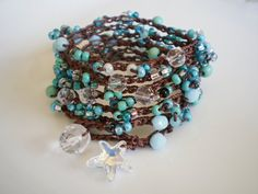 Turquoise crochet wrap of Dramatic 7-Wraps with Swarovski Starfish coupon code PIN10 for 10% off total order -- by RopesofPearls