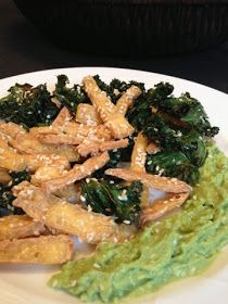nesscooks: Tofu and Kale Chips Kale Chips, Tofu, Guacamole, Green Beans, Vegetables, Healthy, Ethnic Recipes, Veggie Food, Vegetable Recipes