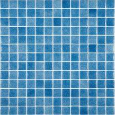 Gresite piscina azul niebla formato de 25x25 mm. Niebla blue swimming pool glass mosaic. www.comprargresite.com