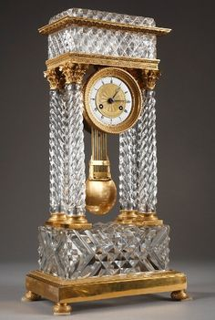 Antique A Charles X cut-crystal and gilt bronze mantel clock