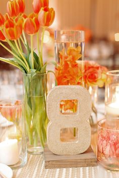 Sequin Table Covers and Glitter Table Numbers | See the wedding on SMP: http://www.StyleMePretty.com/little-black-book-blog/2014/02/03/outdoor-jewish-wedding-at-bel-air-bay-club/ Elisabeth Millay Photography