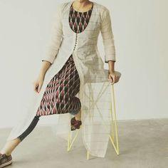 Ikat separate with pattola kurti Salwar Pattern, Kurti Patterns, Dress Patterns, Indian Attire, Indian Wear, Indian Dresses, Indian Outfits, Kurti With Jacket, Kurti Styles