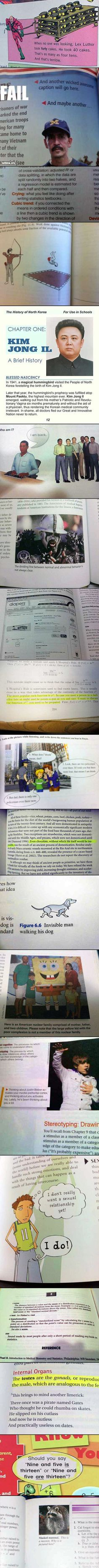 We have rounded up some strange, yet real, things found in school textbooks.