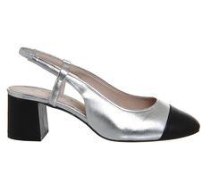 Office Maddie Slingback Block Heels Silver Leather - Mid Heels