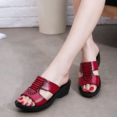 New mother slippers leather soft under the old slope with sandals middle-aged women cool slippers flat comfort elderly shoes