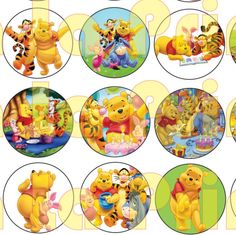 35 Winnie the Pooh Digital Party Stickers Circles size 1'' and 1.5'' sheet A4 (8.5''x11'') Bottle Cap images Cupcake Toppers Disney by…