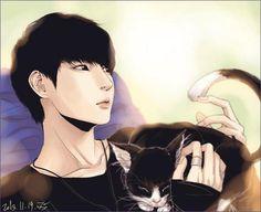VIXX Leo Fan art with cat  SO CUTE !