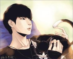VIXX Leo Fan art with cat  SO CUTE !