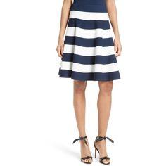 Women's Milly Stripe Circle Skirt (20.380 RUB) ❤ liked on Polyvore featuring skirts, flared skirt, skater skirt, white knee length skirt, white flared skirt and white skirt