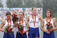 Annie Vernon, Debbie Flood, Frances Houghton and Katherine Grainger in agony over their silver, after being beaten into second place by China in the women's coxless fours - Beijing Olympics 2008