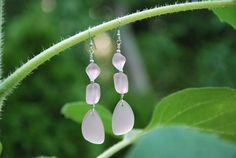 Sterling Silver and Pink Recycled Glass by KarmaKittyJewelry, $12.50
