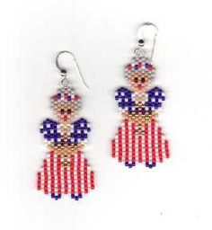 Items similar to One Nation Lady Liberty Beaded Earrings on Etsy Brick Stitch Earrings, Seed Bead Earrings, Etsy Earrings, Seed Beads, Beaded Earrings Patterns, Seed Bead Patterns, Beading Patterns, Peyote Patterns