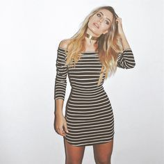 NEW IN!! Vestido Listras Decote Canoa ❤️ R$ 239,00 ❤️ http://www.theblendshop.com.br/roupas/vestidos1