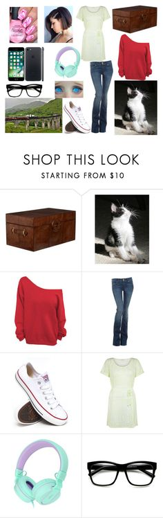 """Train ride - year 3"" by moon-and-back-babe123 ❤ liked on Polyvore featuring OKA, Hudson Jeans, Converse, Monsoon, Retrò, men's fashion and menswear"