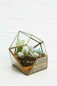 Urban Outfitters - Urban Grow Diamond Terrarium Planter in Gold