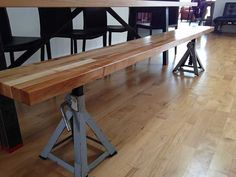 This 8 (L) x 10(W) Bench is made from the same materials as our table and compliments it perfectly. cold steel industrial legs. Angled steel brackets