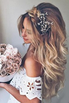 50 Attractive Wedding Hairstyles for Long Hair - Coiffure - Hochzeit Frisuren Easy Hairstyles For Long Hair, Wedding Hairstyles For Long Hair, Elegant Hairstyles, Wedding Hair And Makeup, Bride Hairstyles, Pretty Hairstyles, Hair Makeup, Loose Hairstyle, Hairstyle Ideas