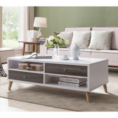 Shop for Furniture of America Arella I Mid-Century Modern 2-tone Distressed Grey White Coffee Table. Get free shipping at Overstock.com - Your Online Furniture Outlet Store! Get 5% in rewards with Club O! - 20216281