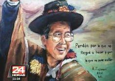 O ex-presidente peruano Alberto Fujimori pediu perdão a seu país em uma frase escrita em um autorretrato que pintou na prisão em que cumpre uma pena de 25 anos por crimes contra a Humanidade, segundo imagens divulgadas na quinta-feira (19) pela TV local.