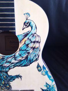Peacock guitar by Joy Pereira details #peacock #bird #guitar #art #ink
