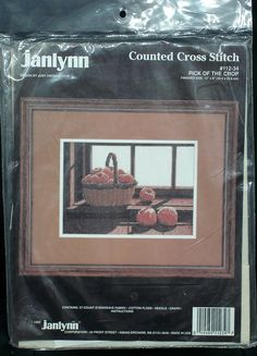 "cross stitch KIT basket apples Pick of the Crop Janlynn 9"" x 12""  $9.50 by FindersOfKeepers via Etsy  11362"