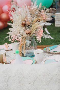 Boho Floral Centerpiece from a Boho Mermaid Party on Kara's Party Ideas   KarasPartyIdeas.com (7)