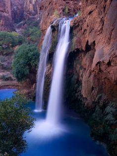 Havasu Falls  The Grand Canyon's famed beautiful crystal clear blue waterfalls...