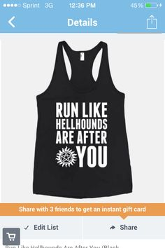 Run like hellhounds are after you. Supernatural workout gear.