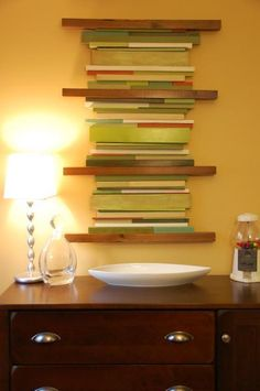 Gave me the idea to use glass tile as an accent filler between floating shelves.