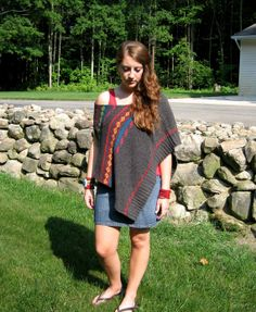 Tribal Yarns' Upcycled Poncho Hippie Clothing Southwestern Clothing Tribal Clothing Gypsy Clothing Upcycled Clothing Upcycled Sweater