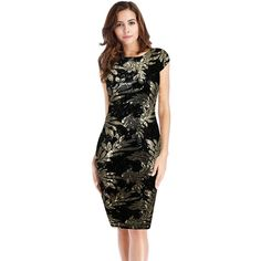 Younrui Women Elegant Vintage Leaves Print Sequin Dress Sexy Deep V Back Short Sleeve Cocktail Party Bodycon Dress Dazz24 http://dazz24.com/product/younrui-women-elegant-vintage-leaves-print-sequin-dress-sexy-deep-v-back-short-sleeve-cocktail-party-bodycon-dress/  Price: & FREE Shipping  #cocktaildresses