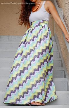 make your own maxi dress out of a length of fabric and a tank top