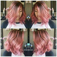 Rose Gold balayage on Asian hair
