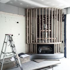 On site and reworking an existing corner fireplace , stone steel and concrete . Sometimes troublesome existing conditions can be little gems!! #mimdesign #mimdesignresidential #interiordesign #comeonbabylightmyfire