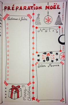 BuJo, Noël, christmas, Bullet Journal, cadeaux, liste December Bullet Journal, Bullet Journal Themes, Bullet Journal Inspo, Filofax, Bujo, Bullet Journal Calendrier, Agenda Organization, Study Motivation, Journal Inspiration