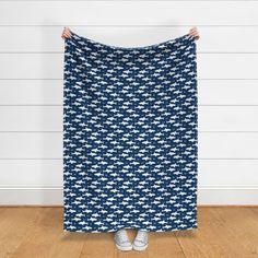 navy blue sharks shark fabric boys room - Spoonflower Blue And White Fabric, White Fabrics, Blue Fabric, Baby Decor, Nursery Decor, Arrow Fabric, Blue Shark, Gabel, Fabric Houses
