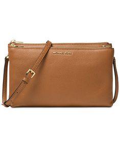 4f83fa725cef Michael Kors Adele Double Zip Pebble Leather Crossbody & Reviews - Handbags  & Accessories - Macy's