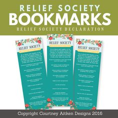 This PRINTABLE relief society declaration bookmark is perfect for birthday gifts, handouts, and more!  These beautifully modern designs are