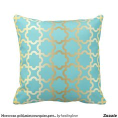 Moroccan gold,mint,tourquise,pattern,girly,trendy, throw cushions Moroccan Garden, Moroccan Theme, Garden Theme, Throw Cushions, Tiffany Blue, Girly, Mint, House Design, Pattern