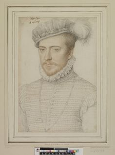 Portrait of Jacques de Savoie, Duc de Nemours (1531-1585); half-length turned slightly to left and looking to front, wearing braided tunic with frilled collar, hat with feather and beard. c.1560-8 Black chalk, with red and yellow chalk Circle/School of: François Clouet biography  French 1560-1568