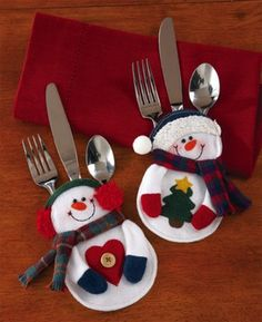 Santa Snowman Christmas Silverware Holder Pocket Holiday Party Decor New Christmas Sewing, Christmas Snowman, Christmas Stockings, Christmas Holidays, Christmas Decorations, Christmas Ornaments, Christmas Candy, Christmas Placemats, Merry Christmas