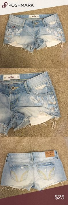 NWOT Hollister Jean shorts Super cute new without tags size 00 or 23 has flowers on front Hollister Shorts Jean Shorts