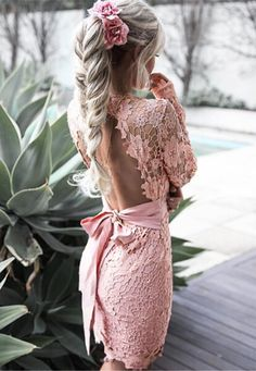 Pink backless lace sexy dress for first-date