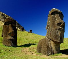 "Easter Island ""heads"" on the slope of Rano Raraku volcano."