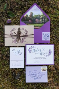 Bright purple stationery for for an outdoor wedding | WedLuxe Magazine