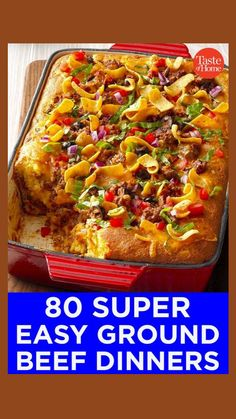 Beef Recipes For Dinner, Ground Beef Recipes, Meat Recipes, Mexican Food Recipes, Cooking Recipes, Beef Dishes, Food Dishes, Main Dishes, Casserole Recipes